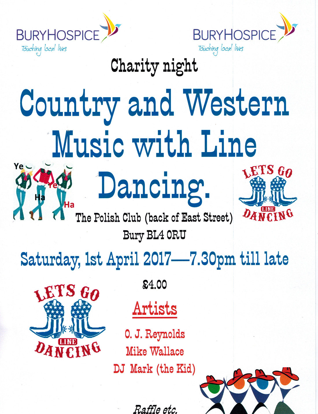 COuntry and Western Bury Hospice poster